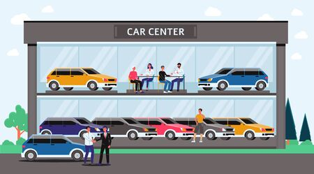 Car center - cartoon glass building with colorful cars and people inside. Automobile dealership or showroom exterior with buyers and sellers - flat vector illustration.