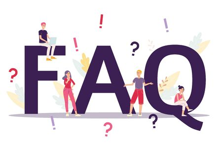Business FAQ concept of frequently asked questions, flat vector illustration isolated on white background. People among exclamation and question marks in web page template.