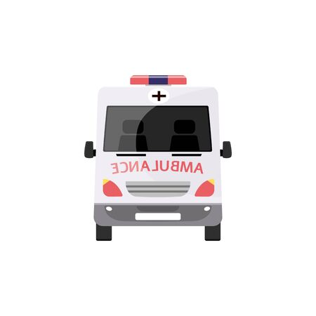 Emergency ambulance car from front view - white medical transportation vehicle with mirrored text and red cross, hospital first aid transport, flat cartoon isolated vector illustration