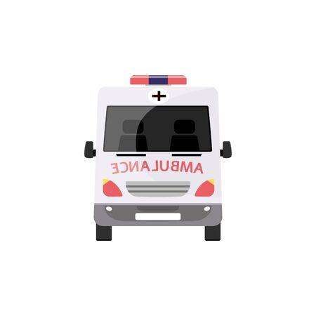 Rettungswagen aus der Vorderansicht - weißes medizinisches Transportfahrzeug mit gespiegeltem Text und rotem Kreuz, Krankenhaus-Erste-Hilfe-Transport, flache Cartoon-isolierte Vektorillustration