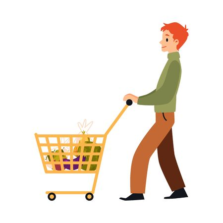 Cartoon man walking with full shopping cart full of food - isolated flat drawing of happy ginger male cartoon character grocery shopping, vector illustration