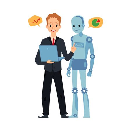 Businessman and android robot looking at laptop talking about graph charts. Cartoon man in suit and futuristic cyborg working together - isolated vector illustration.