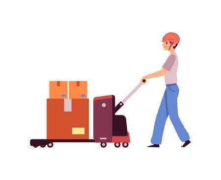 Factory or shipping warehouse worker pushing trolley with cargo. Transportation and shipping or storage concept, flat cartoon illustration isolated on white background.