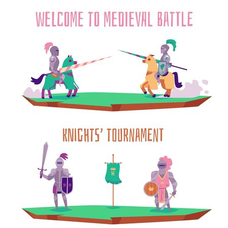 Welcome to medieval battle - cartoon knight tournament banner set isolated on white background. Horse riders with spears and knights with swords - flat vector illustration. Illustration