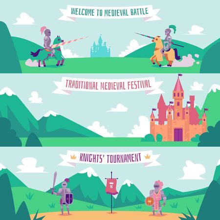 Knight tournament banner set - medieval battle festival poster with cartoon people with swords and armor standing on summer hills and fantasy castle background, flat vector illustration