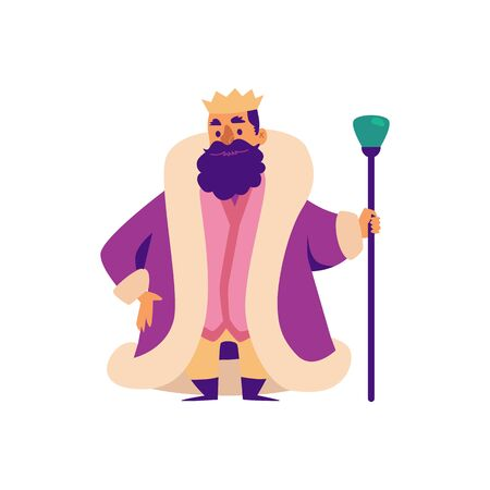 Middle Ages king is fairy tale character in crown and mantle. Cartoon fantasy bearded fat king for games flat vector illustration isolated on white background.