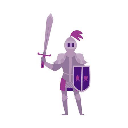 Mittelalter Ritter in Helm und Rüstung mit Schwert ist Märchenfigur. Mittelalterlicher Soldat der Karikaturphantasie für flache Vektorillustration der Spiele lokalisiert auf Hintergrund.