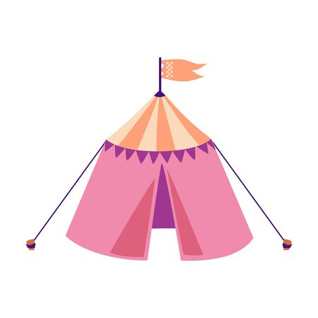 Pink medieval tournament tent with orange flag isolated on white background - historical knight battle recreation venue decoration element - flat vector illustration