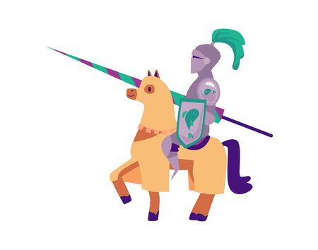Medieval knight in a helmet and armor on a horse with a spear. Historical knight tournament concept in cartoon flat style, isolated vector illustration.