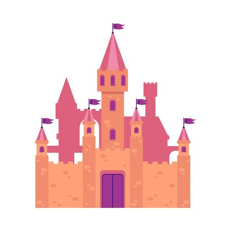 Cute medieval fantasy castle. Old building and architecture with stone towers, walls and flags. Isolated flat cartoon vector illustration of a castle from a fairy tale.