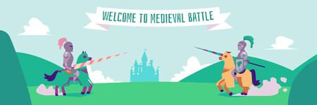 Welcome to medieval battle - flat cartoon banner of two nights in metal armor sitting horseback ready to fight with lances. Historic fairytale fantasy joust vector illustration