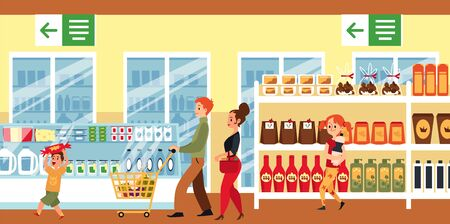 Cartoon family in supermarket - flat banner with people inside grocery store with shopping cart walking by produce shelves. Happy parents and kids buying food - vector illustration