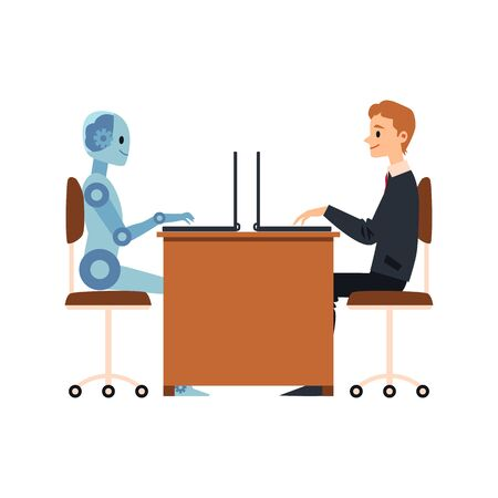 Cartoon businessman and blue robot working together sharing a laptop desk - human and cyborg cooperation at office, isolated flat vector illustration.