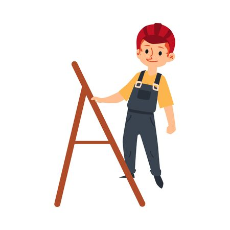 A child boy in a helmet, uniform and work overalls climbs a ladder. The concept of children in construction. Isolated cartoon vector illustration of a child and kid worker and builder in a helmet. Çizim