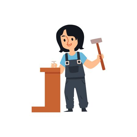 Cute cartoon builder girl holding hammer and driving a metal nail into wood furniture - happy little constuction worker standing isolated on white background - flat vector illustration.