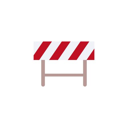 Sign and symbol of road barrier and fence for blocking street, construction and safety, stop and danger concept. Isolated flat vector illustration of road barrier and fence.