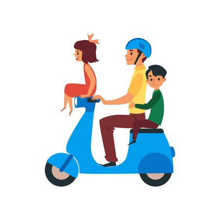 Father and children, boy and girl cartoon characters traveling riding on bike. Flat vector illustration isolated on white background. Family motorcycle riders or bikers.