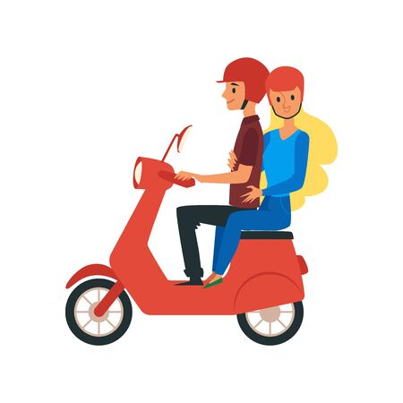Young loving couple man and woman cartoon characters traveling riding on bike. Flat vector illustration isolated on white background. Motorcycle riders or bikers journey. Vector Illustration