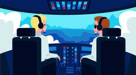 Pilot and copilot cartoon characters inside airplane cockpit flat vector illustration. Pilots cabin in flying plane with dashboard and cockpit window landscape view.