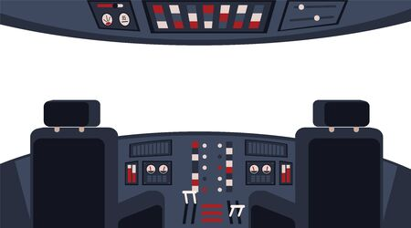 Pilots cockpit inside interior with dashboard,appliances and chairs flat vector illustration. Airplane cabin inside equipment with window. Aircraft transportation.