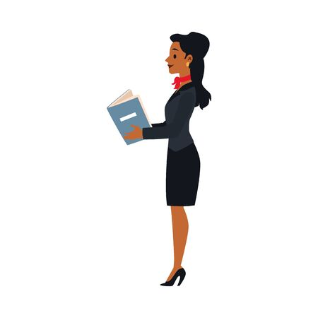 Black stewardess brunette girl in uniform with a red scarf stands and holds instructions in her hands. Isolated vector flat illustration of an air hostess at the airport.