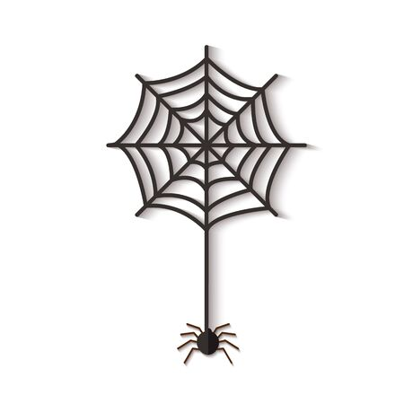 Halloween web with spider cutted out of black paper vector illustration in paper cut style isolated on white background. Spiral orb web scary icon for Halloween holiday.