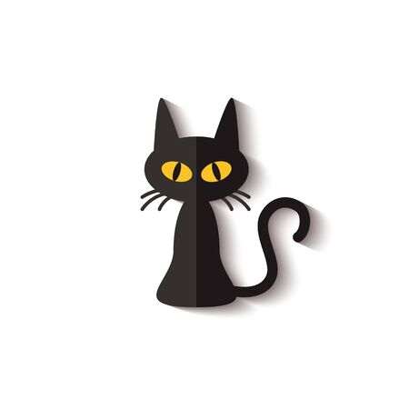 Flat icon of black cat with realistic gradient shadow isolated on white background - spooky pet animal with yellow eyes for Halloween decoration. Vector illustration.