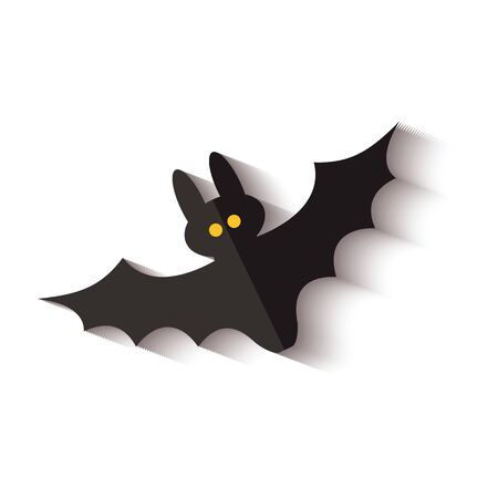 Black flying bat icon with yellow dot eyes and drop shadow isolated on white background - spooky Halloween decoration of night animal creature, vector illustration. Иллюстрация
