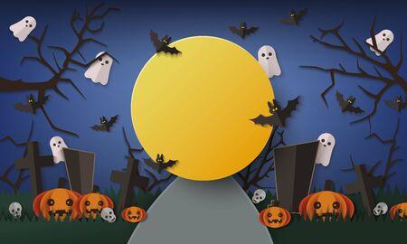 Modello di banner di Halloween della notte oscura con una grande cornice di luna gialla sullo sfondo del cimitero con pipistrelli volanti e fantasmi, alberi spettrali e zucche - illustrazione vettoriale spaventosa Vettoriali