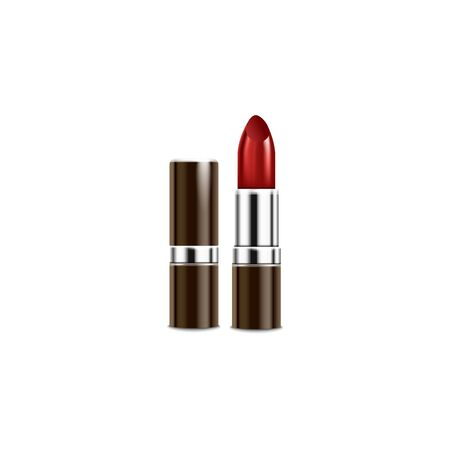 Brown and silver tube of red lipstick - realistic mockup isolated on white background. Shiny metal lip makeup container in open and closed form - vector illustration.  イラスト・ベクター素材
