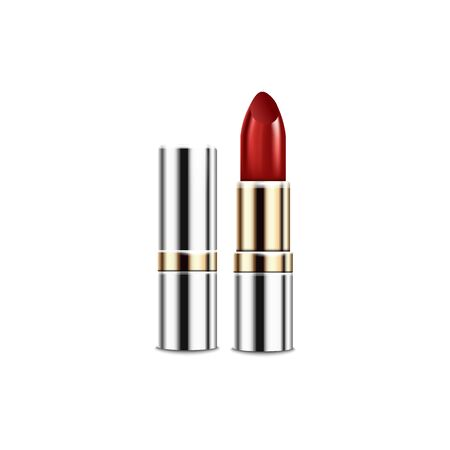 Realistic metal tube of red lipstick with gold and silver shiny packaging with open and closed lid. Lip makeup product packaging mockup - isolated vector illustration.  イラスト・ベクター素材