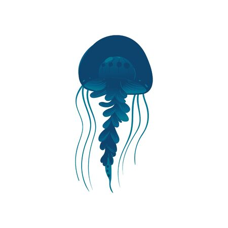 Wildlife sea or ocean design element the beautiful jellyfish swimming in the sea. Undersea dangerous creature, cartoon vector illustration isolated on white background. Иллюстрация