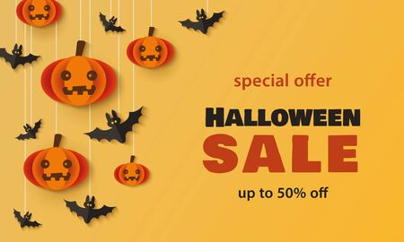Halloween sale - holiday promotion banner template with cartoon pumpkins and bats hanging from above and colorful text. Seasonal discount ad - vector illustration.
