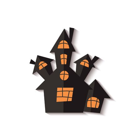 Scary Halloween ghost house or castle cut out black paper. Design for holidays greeting cards and invitations vector paper cut illustration isolated on white background. Illustration