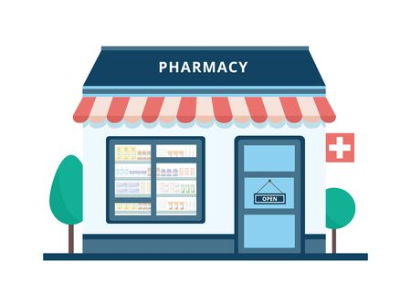 Cartoon pharmacy building exterior isolated on white background - cute flat drug store front with from outside view with open sign on door, vector illustration.