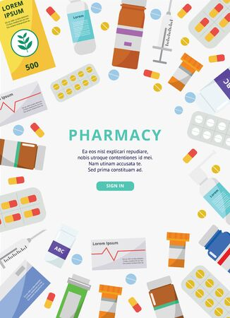 Pharmacy poster template with pills, sprays and other medicine objects surrounding center text template part - online drugstore website landing page. Vector illustration