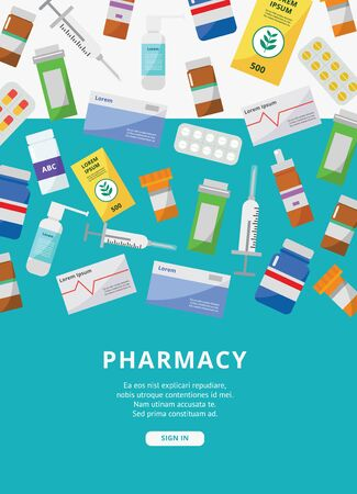 Online pharmacy ad poster template with colorful medicine packaging falling from above - modern text template for website sign in page - vector illustration