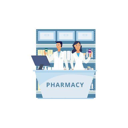 Contatore di farmacia isolato con persone di cartoni animati in uniforme da farmacista che tengono bottiglie di medicinali. Consulente uomo e donna nel registratore di cassa del drugstore - illustrazione vettoriale Vettoriali