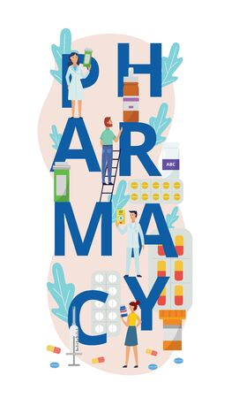 Pharmacy poster banner with cartoon people surrounding giant word letters and holding pill bottles and medicine containers. Doctors and customers - flat isolated vector illustration