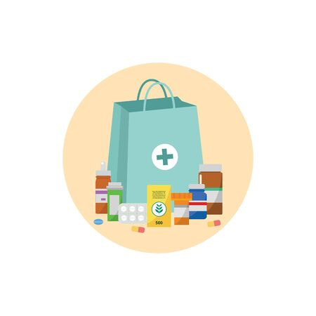 Pharmacy bag with pill bottles, drug tablets and other medicine packaging surrounding it - blue drugstore purchase paper bag with cross symbol - isolated flat vector illustration