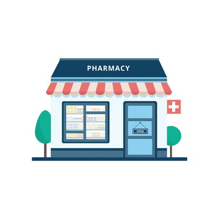 Pharmacy or drugstore single standing building icon flat cartoon vector illustration isolated on background. Medical supplies store for healthcare and medicine project.