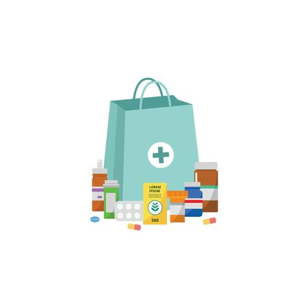 Medical supplies, drugs and pills in containers flat cartoon vector illustration isolated on white background. Online pharmacy or drugstore, healthcare clinic element. 일러스트