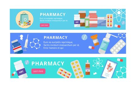 Pharmacy banner set - flat cartoon online drugstore website elements with different drugs and pill bottles surrounding text template. Isolated flat vector illustration 일러스트