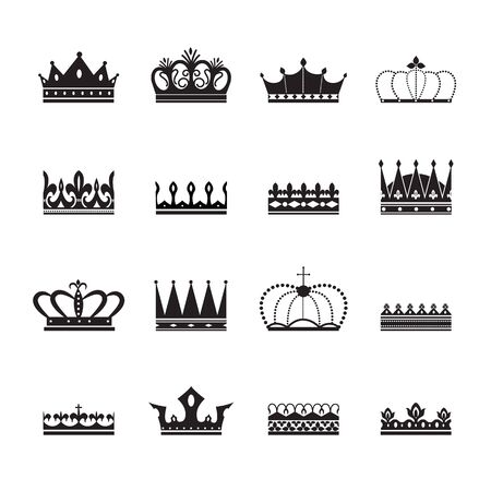 King and queen royal crown insignia elements set of black silhouettes vector illustration isolated on white background. Imperial luxury heraldic icons and symbols. Illustration
