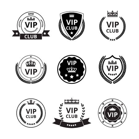 Vip labels and badges with ribbon and crown icons set of vector graphic illustrations isolated on white background. Vip club loyalty program emblems collection.