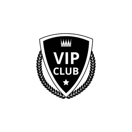 VIP club - black shield badge icon with crown symbol, leaf wreath and star sign isolated on white background, flat monochrome. Vector illustration.