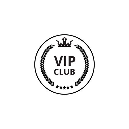 Vip club - flat circle icon with crown symbol and round wreath. Exclusive membership group in royal heraldic badge style - vector illustration isolated on white background. Illustration