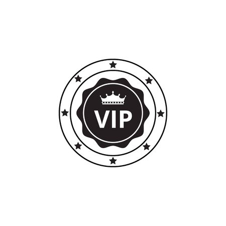 Vip black label or rounded quality certification emblem graphic vector illustration isolated on white background. Premium members customers loyalty program club badge.