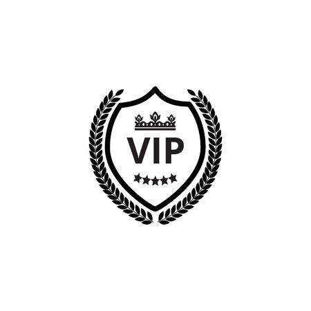 Vip black shield label with royal crown and laurel wreath monochrome vector illustration isolated on white background. Luxury VIP club loyalty clients program symbol.