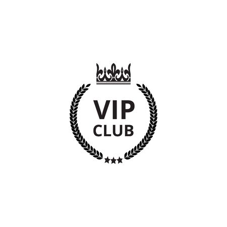 VIP club icon with crown silhouette and round wreath isolated on white background - royal exclusive establishment with text template, vector illustration. Illustration